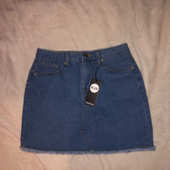 Medium blue denim mini skirt
